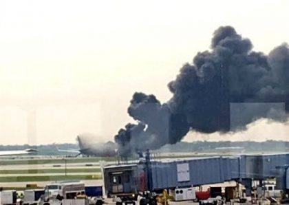 American Airlines AA383 in flames