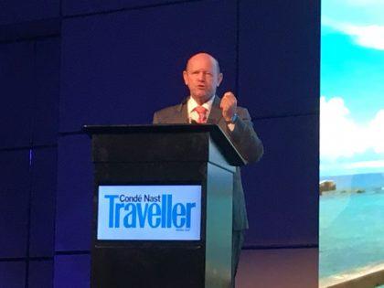 Seychelles Tourism Minister addresses tourism professionals at Conde Nast Traveller Forum in Dubai