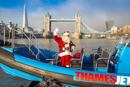 Santa sails into London on new ThamesJet boat