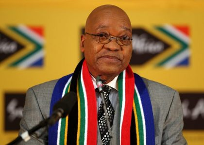South African President Zuma sends a message of condolences