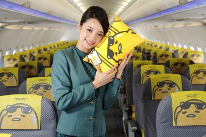 Relaxed Sanrio character brightens new plane from nose to tail