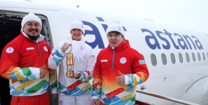 Air Astana delivers flames to the opening ceremony of World Winter Universiade 2017