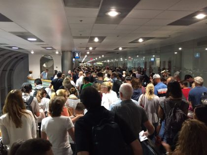 US Airport Customs:  Panic attacks, Shoving, Chaos.