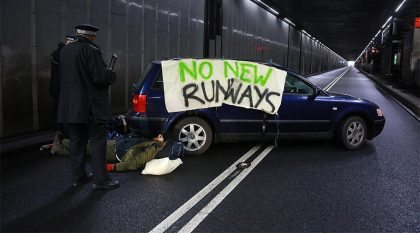 Chaos at Heathrow: Airport motorway tunnel blocked by climate change protesters