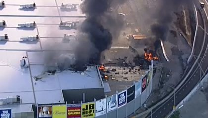 Plane crash is a fiery blaze at Melbourne airport