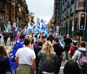 Thousands rally for Scotland's independence from Britain in Glasgow