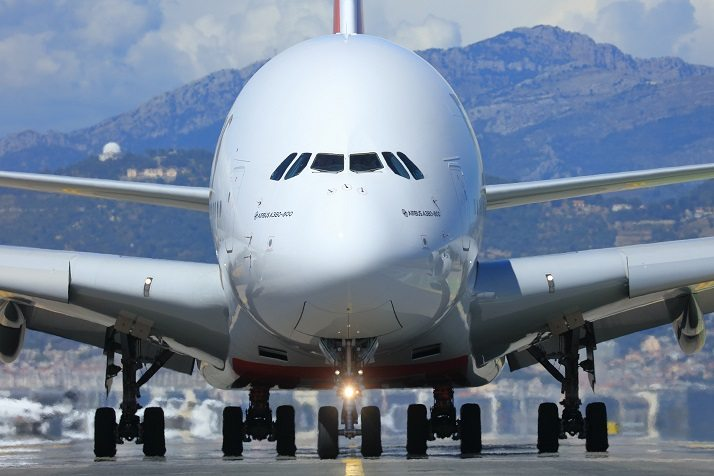 Emirates A380 touches down in Nice
