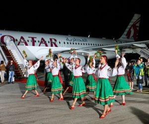 Qatar Airways' inaugural flight to Kyiv touches down at Boryspil International Airport