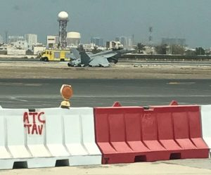 US Navy F-18 fighter jet crash-lands at Bahrain International Airport, pilot ejects
