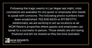 MGM Guests or Employee call our crisis hotline !
