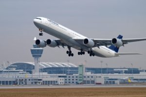 Lufthansa flying special Airbus A340-600 between Munich and Berlin-Tegel