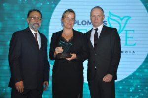 Peter Brun, Head of Communications, VFS Global & Ajay Prakash, felicitate Norway
