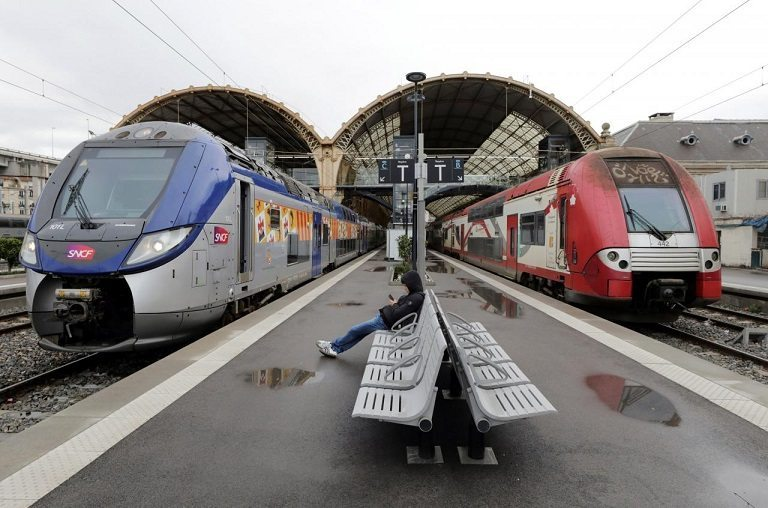 Most trains in France were cancelled Monday