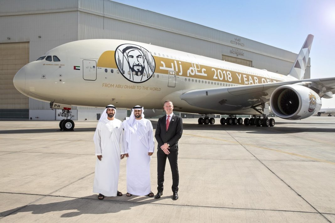 "Abu Dhabi Department of Transport Chairman inspects Etihad Airways' ""Year of Zayed"" A380 jet"