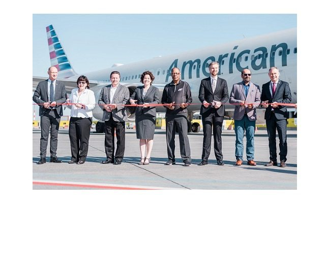 American Airlines arrives at Budapest Airport