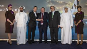 """(left to right) Mana Al Mulla, Chief Group Support Services Officer, EAG; Peter Baumgartner, Chief Executive Officer, Etihad Airways; Eamonn Maguire, Regional Sales Manager, Mallaghan Engineering Limited; Mark Powers, Chief Financial Officer, EAG; Adil Al Mulla, Vice President Group Procurement and Supply Management, EAG – at the """"Collaborating for Sustainability """"Symposium awards."""
