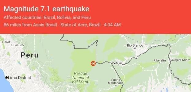 7.1 earthquake in the Peru, Bolivia and Brazil border region