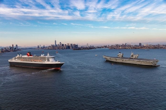Iconic vessels Queen Mary 2 and HMS Queen Elizabeth meet for Royal Reception