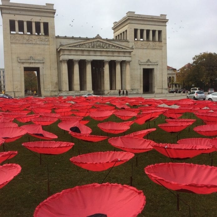 Massive poppy art installation a must-see in Munich for Remembrance Day
