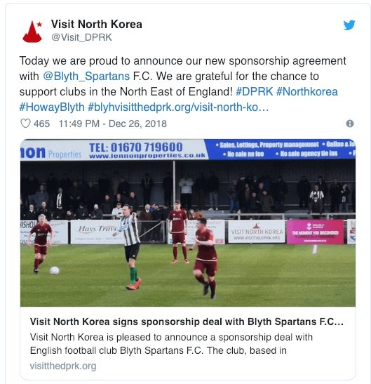Visit North Korea loves British Tourists and it puts a sponsorship behind it