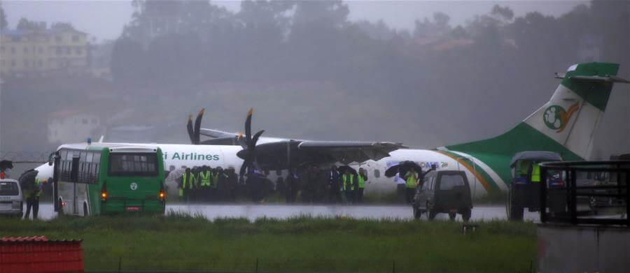 Yeti Airlines passenger plane skids off the runway at Kathmandu airport