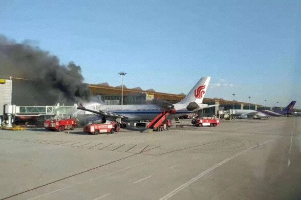 Passengers and crew evacuated as Air China Airbus A330 bursts into flames