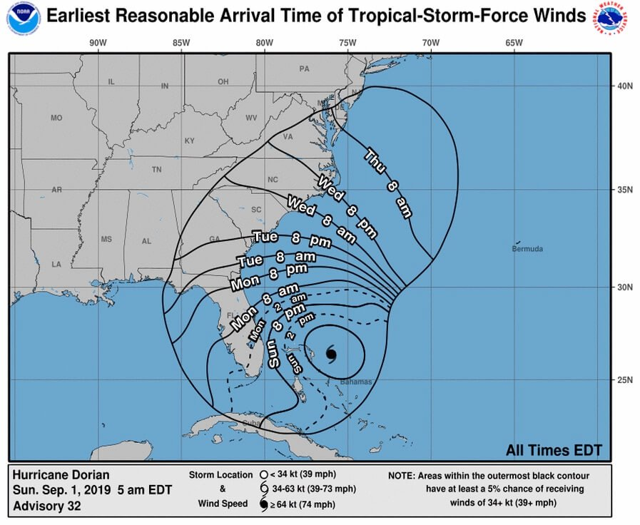 Hurricane Dorian: Changes in watches and warnings