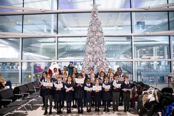 Heathrow Airport undergoes festive Christmas transformation