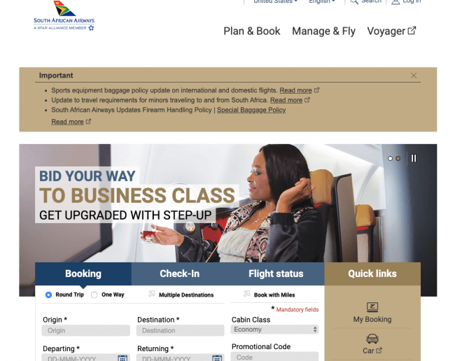 South African Airways in a state of bankruptcy