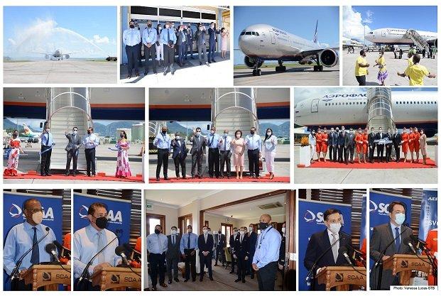 Aeroflot's inaugural flight touches down in Seychelles