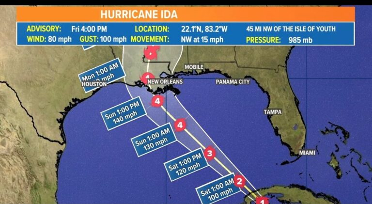 New Orleans residents ordered to evacuate as Hurricane Ida looms