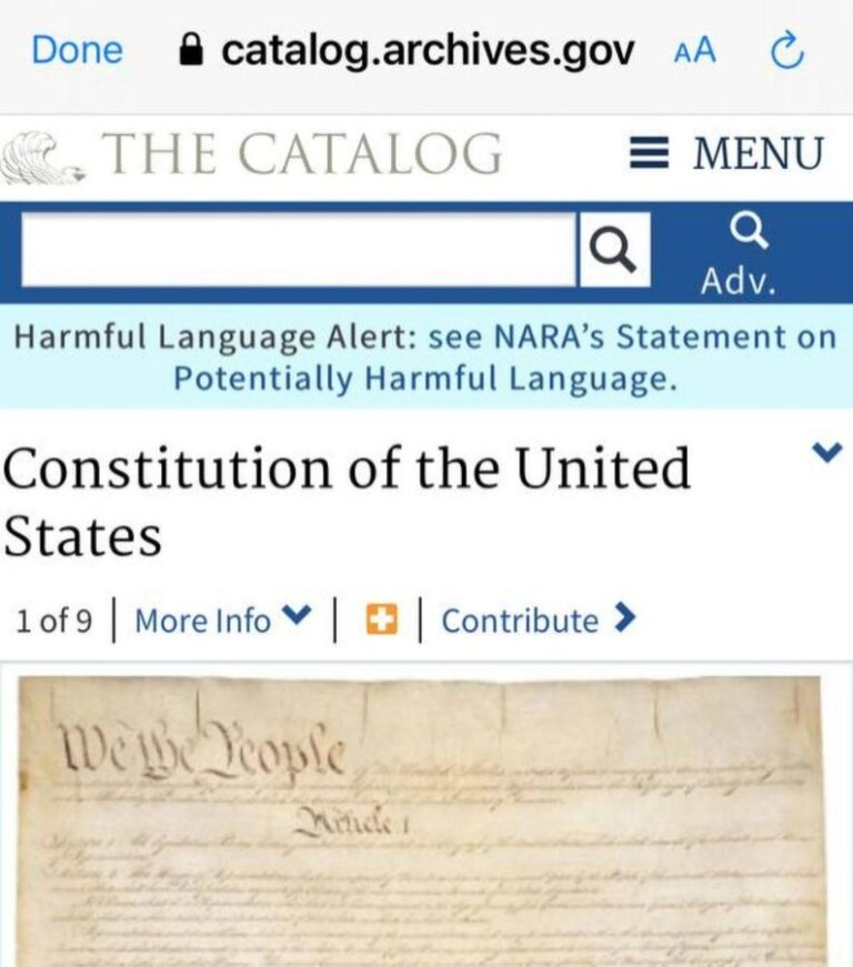US Constitution and Declaration of Independence now have 'harmful language'